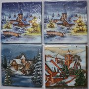 Servietten Winterliche Häuser und Kirchen