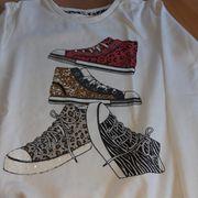 Sweatshirt weiß Schuhe Pailetten Langarm