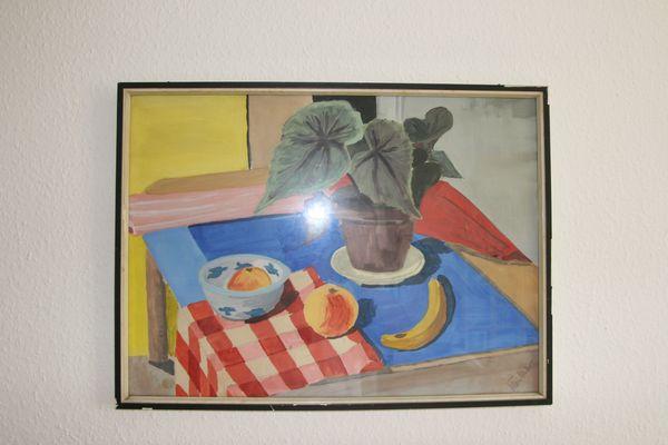 Gemälde Stilleben Obst mit Planze