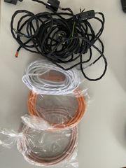 Stoffummantelte Kabel Stromkabel Konvolut neu