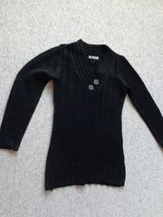 Rippen-Strick-Zopfmuster- Long-Pullover ca Gr XS