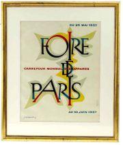 Original 1957 Reklame Plakat Foire
