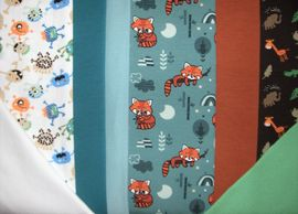 Jerseypaket Jerseyreste Kinderjersey Kinderstoff Monster Füchse Bündchenstoff