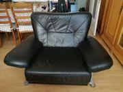Schwarze Glattleder Couchgarnitur 3 2