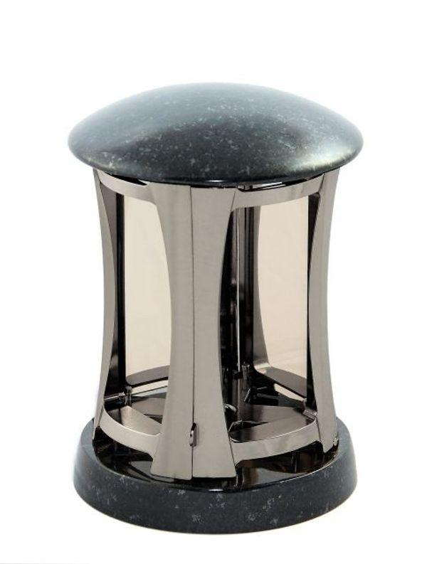 Grablampe silbergrau Metallguss Granit massiv