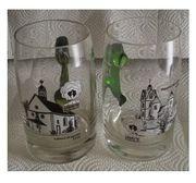 2 Glas- und 4 Tonkrüge