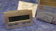 LCD Funkwecker Uhr silber OV