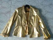 Exklusive Damen Lammnappa Leder-Jacke goldfarben