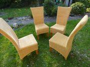 4 Lehn-Holzstühle mit Flechtwerk hellsandfarben