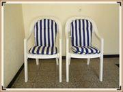 2xGartenstühle Sessel Hocker stapelbar hohe