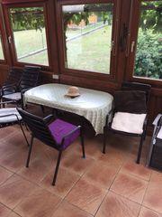 Terassengarnitur mit 6 Stühlen