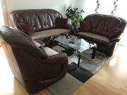Couchgarnitur Echtleder Bettfunktion mit Glastisch