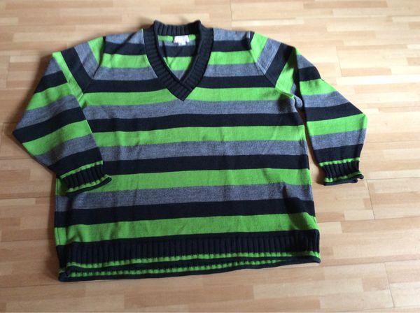 Pullover grau grün schwarz gestreift