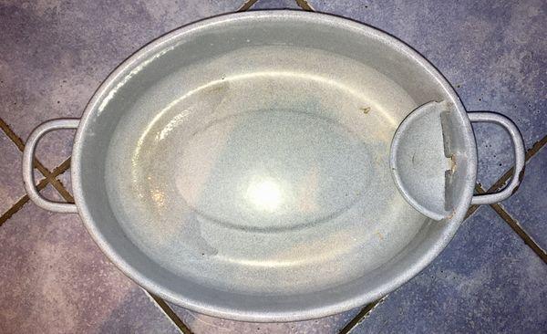 RETRO Blechwännchen Blechschüssel grau Emaille