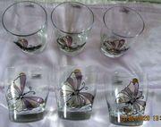 6 DERU-Design Trinkgläser mit Schmetterlingsmuster