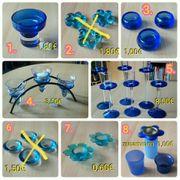 Teelichthalter Kerzenhalter Kerzenteller blau orange