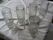 5 gebrauchte Biergläser Henkel-Gläser Glaskrüge