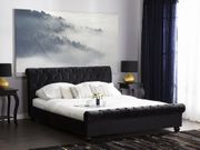 Bett Samtstoff schwarz 160 x