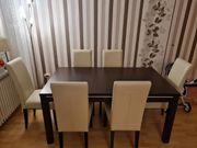 Schokobuche Tisch mit 6Stühlen