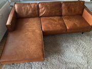 Couch Ecksofa Antiklederlook Cognac