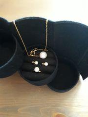 4 tlg goldenes Perle-Schmuckset Ring