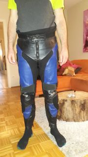 AKITO Lederkombi Zweiteiler schwarz blau