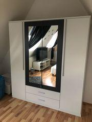 Kleiderschrank 4-türig mit Spiegel weiß-grau