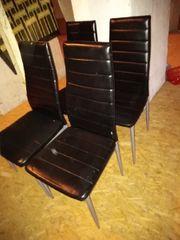 4 st Leder Stuhl Stühle