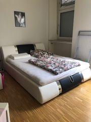 Bett Weiß schwarz Lederoptik