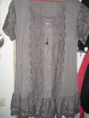 Kleid Tunika in dezenten Knitterlook