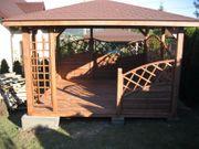 Holzpavillon mit Holzboden Gartenlaube 300x300