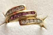750 Goldring mit Diamanten und