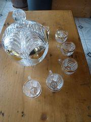 Bowle-Set aus Bleikristall mit Goldauflage