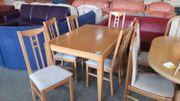 Tisch mit 6 Stühlen 90x130
