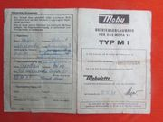 Mobylette Moby Typ M1 Betriebserlaubnis
