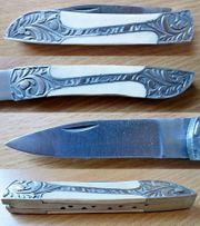 Hochwertiges Taschenmesser mit Knochen-Griffschalen Leder-Gürteltasche