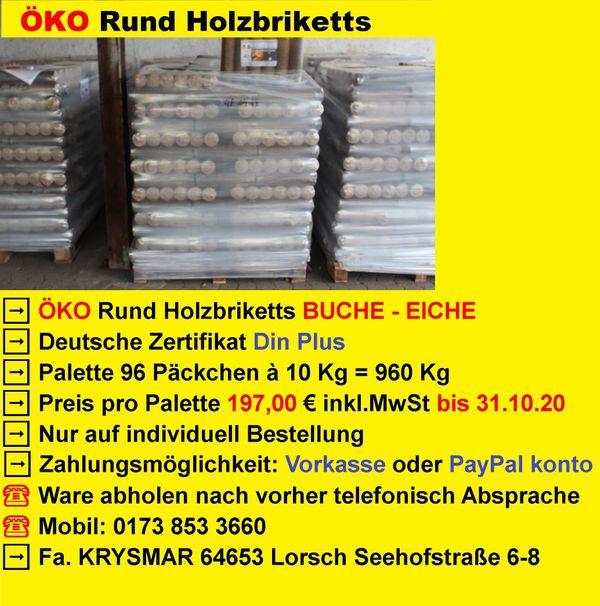 960 Kg ÖKO Rund Holzbriketts