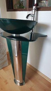 Designer Glas Waschbecken mit Armatur