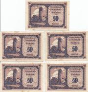 5 Stück 50 Heller Gutscheine