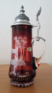 Bierseidel bleikristall rotem Überfang mit