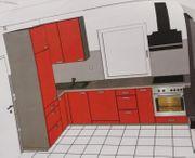 Neue rote Küche - kaum genutzt