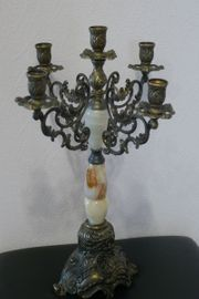 Antiker Kerzenleuchter mit Onyx