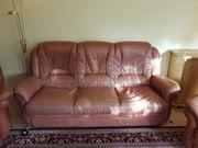 Hochwertige Echtleder Couchgarnitur mit zwei