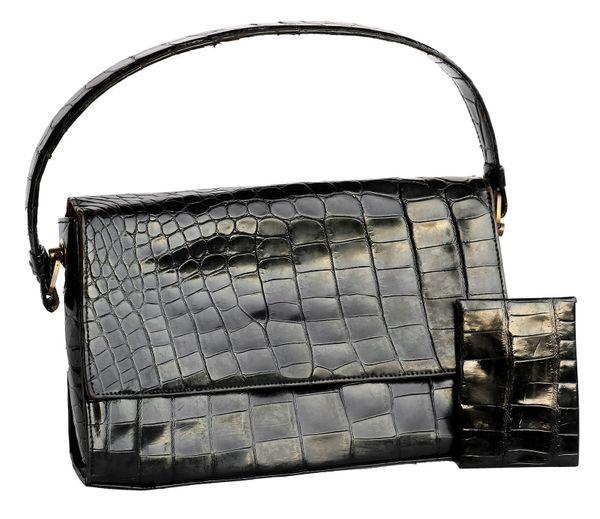 Vintage Handtasche 50er Jahre schwarz Leder mit
