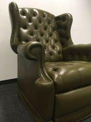 Chesterfield Sessel Ohrensessel grün Liegefunktion