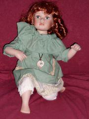 Porzellanpuppe Mädchen rothaarig Puppe 44cm