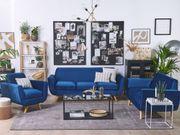 Sofa Set Samtstoff marineblau 6-Sitzer