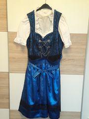 Dirndl 3-teilig blau schwarz Gr
