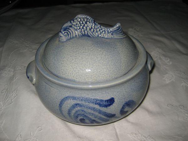 Fischtopf Heringstopf Matjestopf Fischterrine aus Keramik 1 Liter Salzglasur