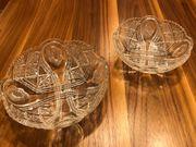 2x Glasschale Glas-Schüssel Kristall aufwendiges